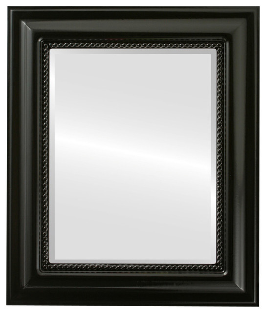 Heritage Framed Rectangle Mirror In Gloss Black, 29x41.