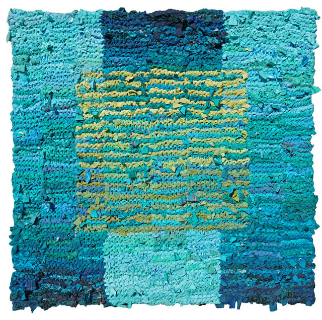 "Teal And Olive Floating Square Rag Rug, 45""x46"""