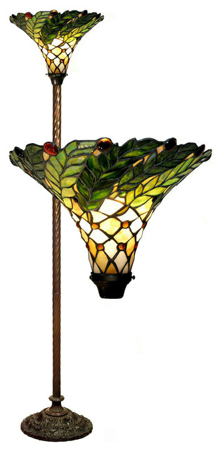 Tiffany Style Green Leaf Torchiere Lamp Victorian Floor Lamps