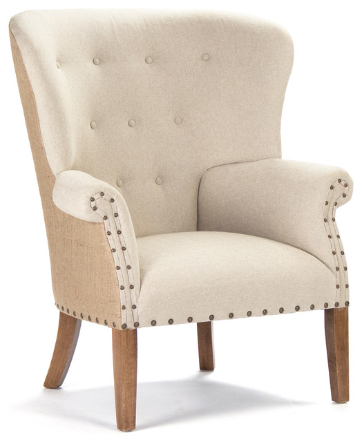 Kathy Kuo Home Morten Masculine French Linen Burlap Wing Back Arm Chair Arm
