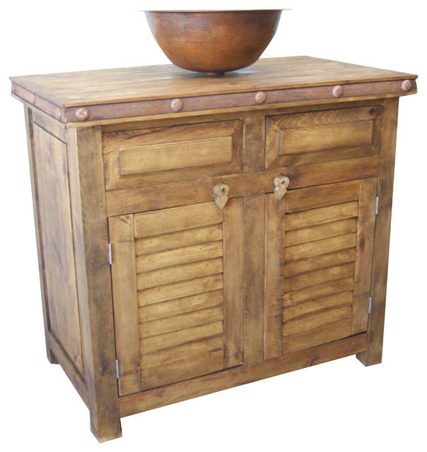 Rustic Shutter Door Bathroom Vanity Buffet - Farmhouse ...