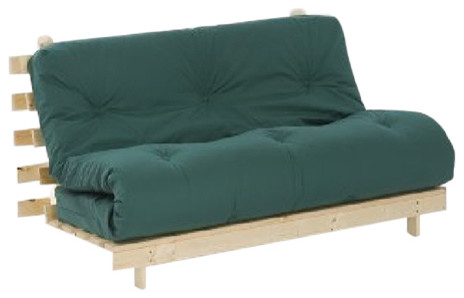 Traditional Futon Set With Solid Pine Wooden Frame And Glade Green Mattress