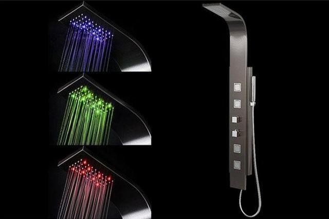 Colonna doccia termostatica nera sanaga moderno pannelli e