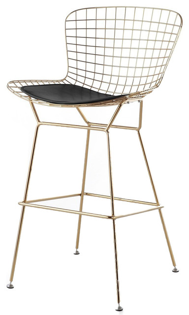 Modern Selections Wire Counter Stool Gold Finish Black Seat Pad Bar Stools
