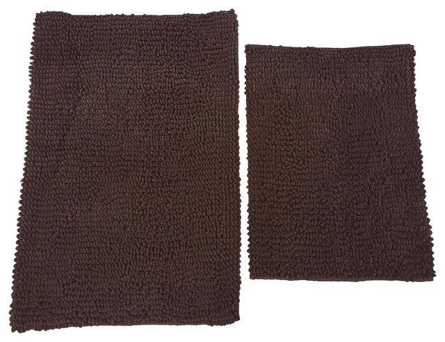 Chd home napoli luxury chocolate brown chenille loop bath rugs 2 piece set reviews houzz for Chocolate brown bathroom rugs