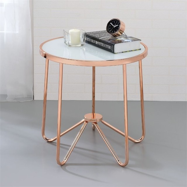 ACME Alivia End Table, Frosted Glass and Rose Gold