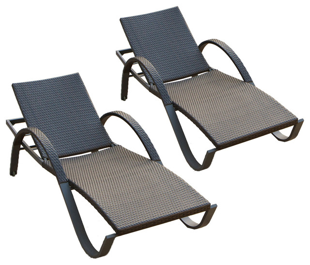 Deco set of 2 chaise lounges contemporary outdoor for Chaise and lounge aliso viejo