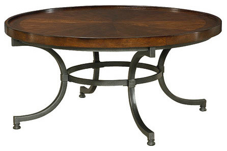 Hammary Barrow Round Cocktail Table With Mahogany Top And Metal Base  Industrial Coffee Tables