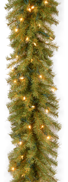 9&x27; Norwood Fir Garland With Clear Lights.
