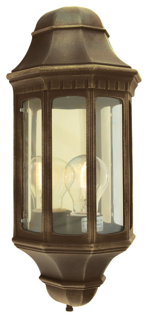 M8 Outdoor Wall Light, Black and Gold, Large