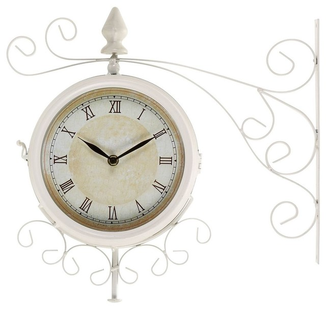 Metal Outdoor Double Clock with Easy To Mount Wall Bracket