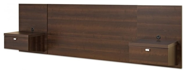 Prepac Series 9 Designer Wall Mounted Headboard System With 2 Nightstands Transitional