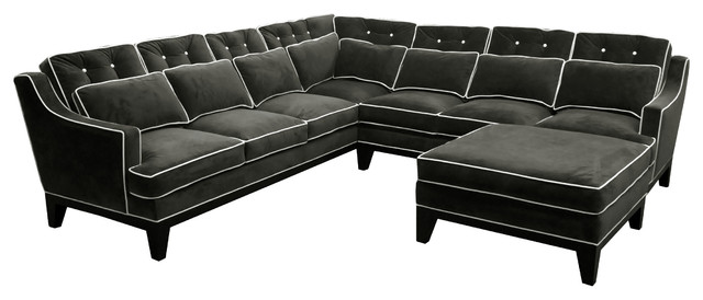 napa tufted u shaped sectional sofa with contrast piping in velvet
