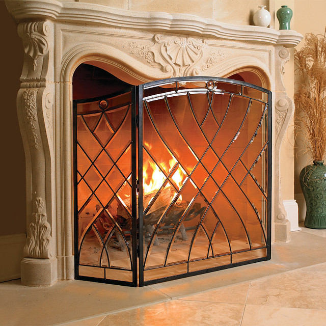 Victoria Glass Fireplace Screen Traditional Fireplace