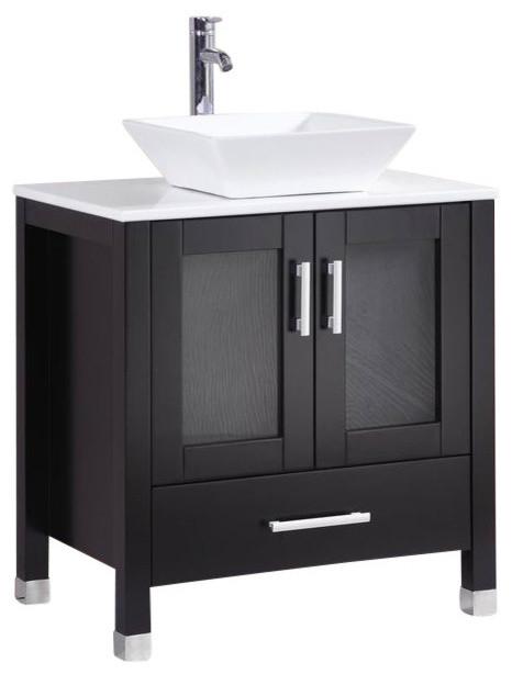 "30"" Belvedere Modern Espresso Bathroom Vanity w/ Vessel Sink"