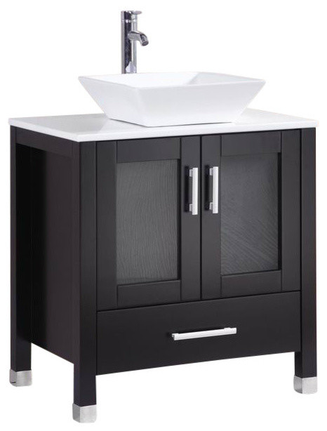 Vanity With Vessel Sink Espresso  Contemporary Bathroom - 30 bathroom vanity with sink