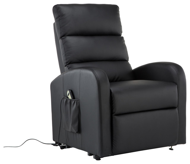 Classic Plush Bonded Leather Power Lift Recliner Living Room Chair Black contemporary-recliner-  sc 1 st  Houzz & Classic Plush Bonded Leather Power Lift Recliner Living Room Chair ... islam-shia.org