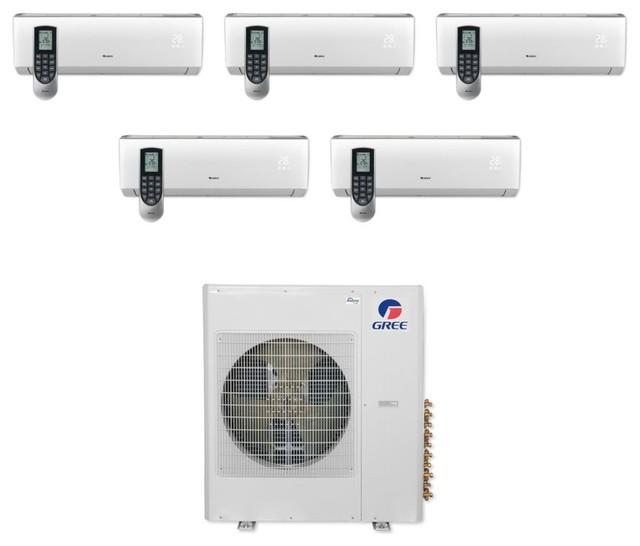 Gree Vireo 5-Zone Split A/c Heat Pump 208-230v , 36,000 Btu, 9k, 9k, 9k, 9k, 12k.