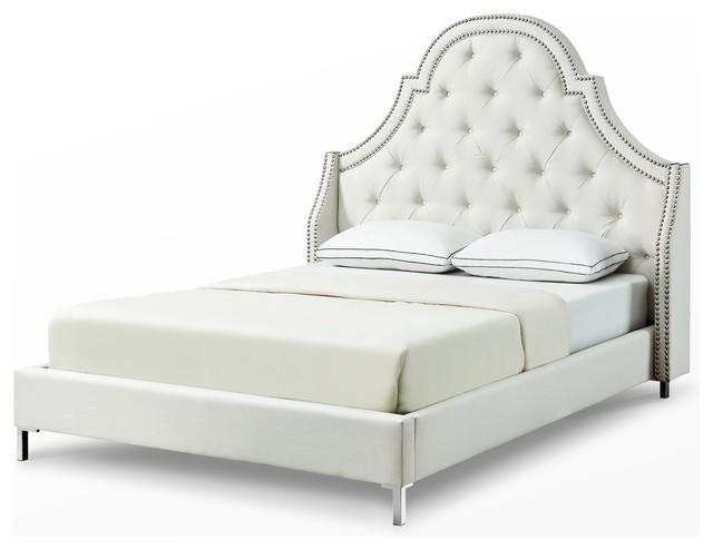 Gardyne Platform Bed, Beige Linen, King.