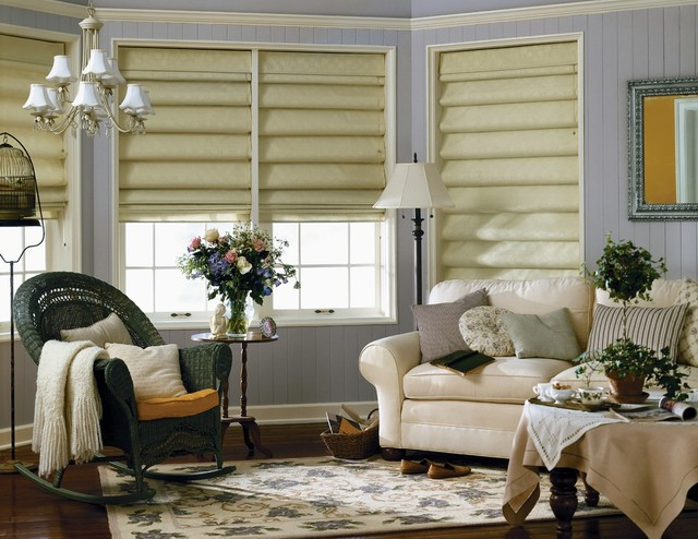Graber fresco roman shades traditional living room for Blinds for living room windows