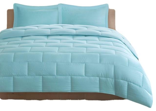 Intelligent Design Seersucker Down Alternative Comforter Mini Set In Aqua Contemporary Comforters And Comforter Sets By Bunnyberry,Diwali Home Decorations