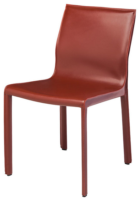 Colter Leather Dining Chair Red.