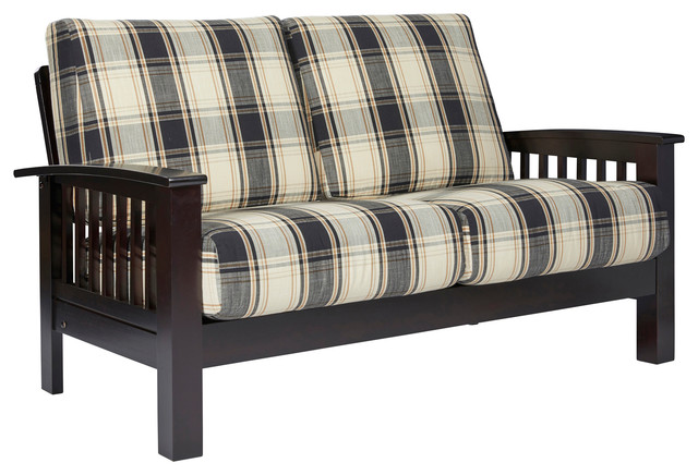 Maison Hill Mission Style Loveseat With Exposed Wood Frame, Brown & Black Plaid.