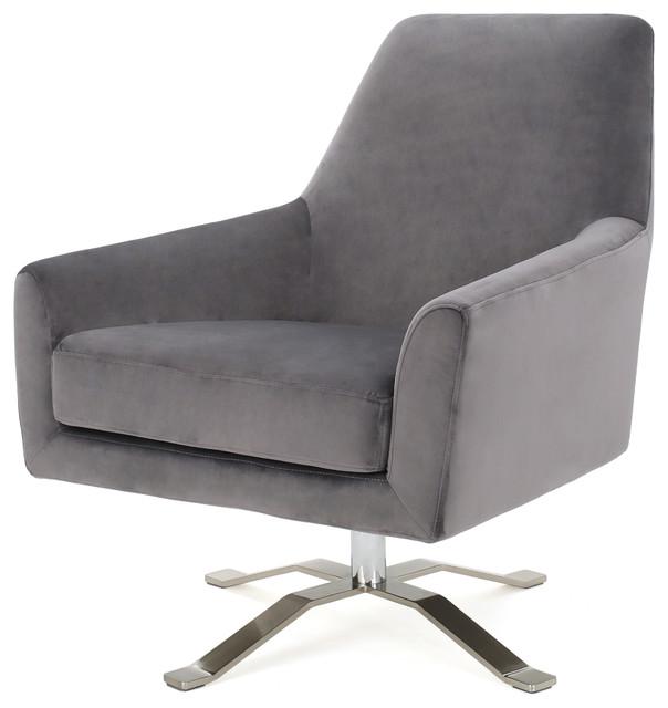 Aegis New Velvet Retro Style Swivel Club Chair, Gray