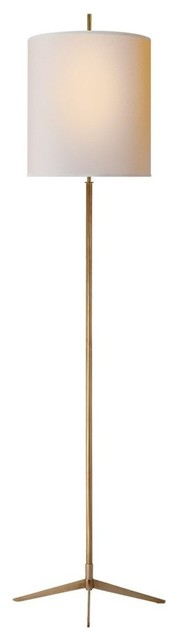 Visual Comfort Caron 2-Light Floor Lamp With Natural Paper Shade, Antique Brass.