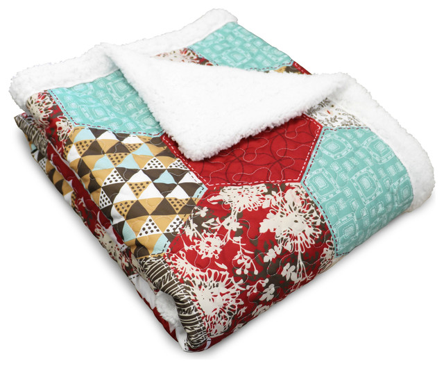 Grace Red Patchwork Sherpa Throw.