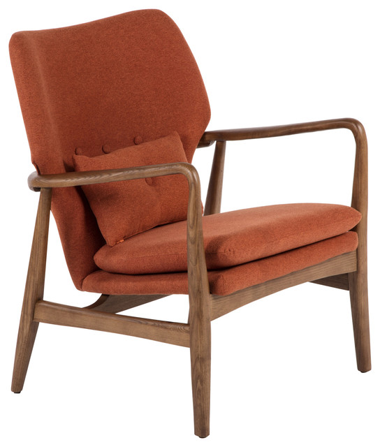Edwin Lounge Chair, Burnt Orange Midcentury Armchairs And Accent Chairs