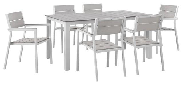 Maine 7-Piece Outdoor Patio Dining Set, White Light Gray.