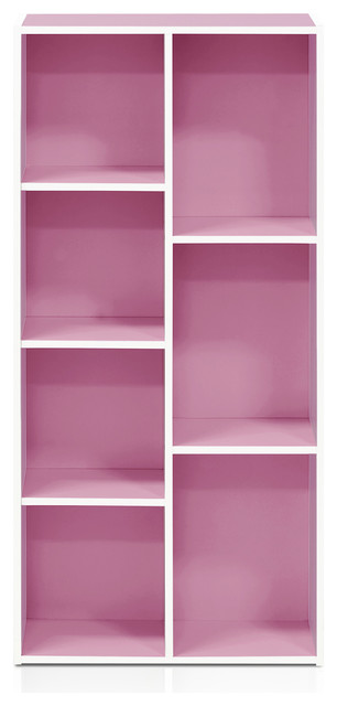 7-Cube Reversible Open Shelf, White/pink.