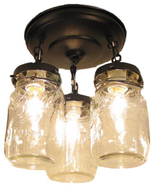 Superior Mason Jar Flush Mount Light Part - 9: Mason Jar Ceiling Light, Oil Rubbed Bronze Farmhouse-flush-mount-ceiling-