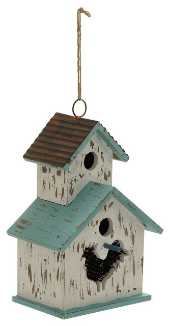 Wood And Metal Birdhouse Modern Birdhouses By