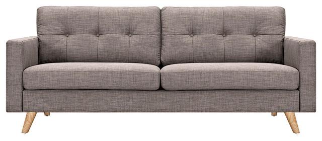 Aluminum Gray Uma Sofa, Natural Leg Finish.