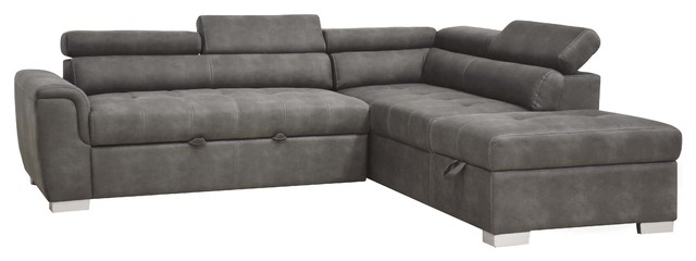 Acme Thelma Sectional Sofa With Sleeper And Ottoman Gray Polished Microfiber
