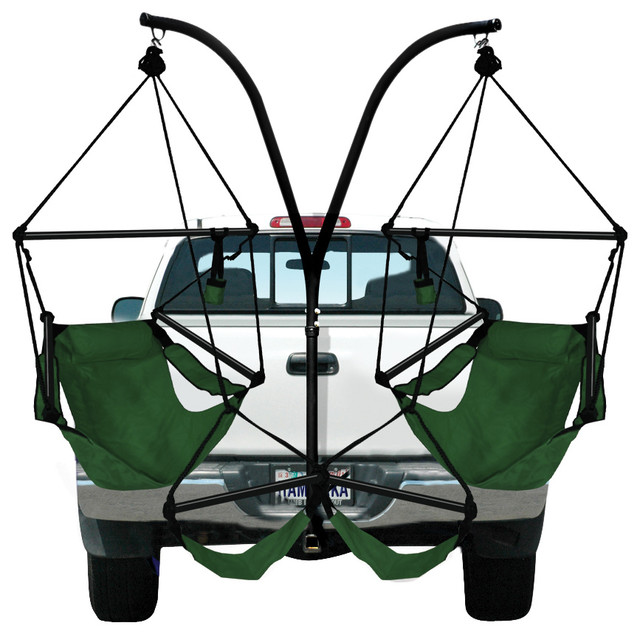 Etonnant Hammaka Trailer Hitch Stand And 2 Chairs Combo W, Aluminum Dowels, Hunter  Green