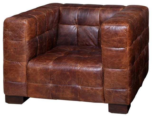 arthur rustic lodge tufted leather cube club chair