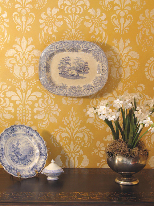 Damask Stencil, Large Scale traditional wallpaper