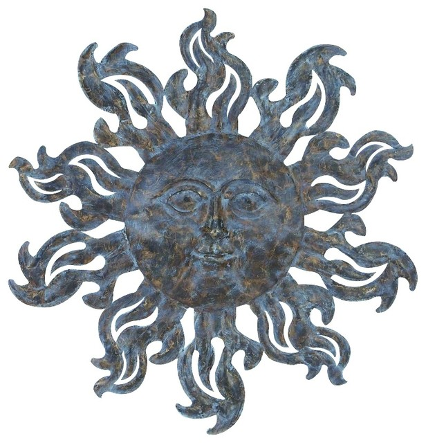 Celestial New Age Round Metal Sun Wall Art Antique Silver Finish Decor  Traditional Metal