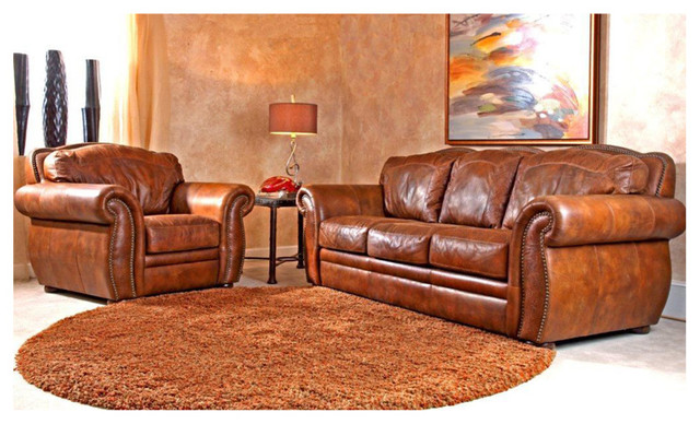 Western Themed Leather Sofa Rustic