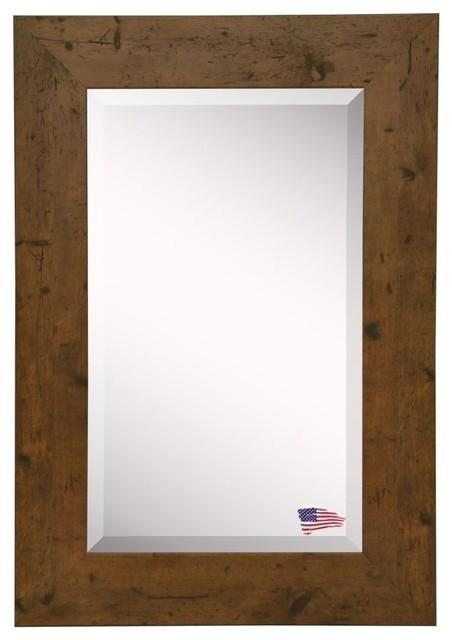 "Beverly Rustic Walnut Wall Mirror, 23.5""x35.5""."