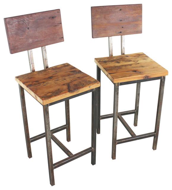 Reclaimed Wood Bar Stools Set Of 2