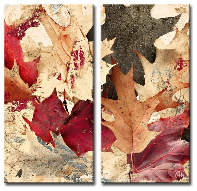 Fall Ink IX, Canvas Wall Art 2-Piece Canvas Art Set - Contemporary ...