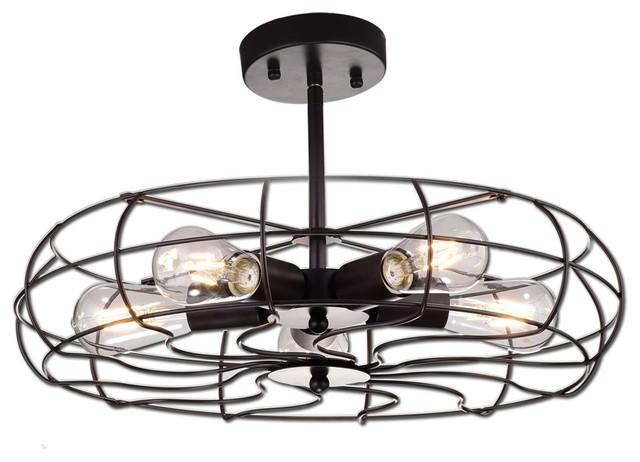 Oil Rubbed Bronze Barn Metal Fan Style Ceiling Lighting, 5 Lights.