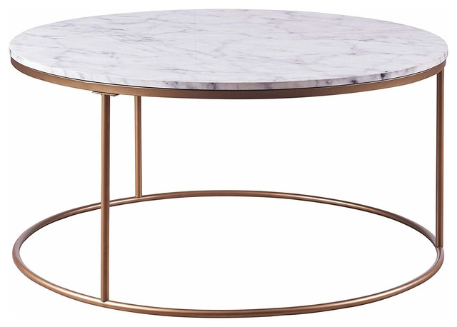 Modern Round Coffee Table Gold Finished Metal Base With Faux Marble Top Contemporary Coffee Tables By Efurnish