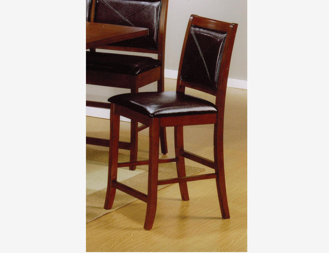 2 pc casual brown wood counter height dining chairs for Wood dining chairs with leather seats