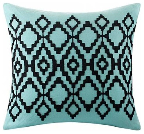 "Aqua Blue And Black Pillows, Echo Design Kalea, Set of 2, 18""x18"""