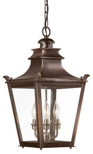 Troy Dorchester 3-Light Hanging Lantern, English Bronze, Medium.